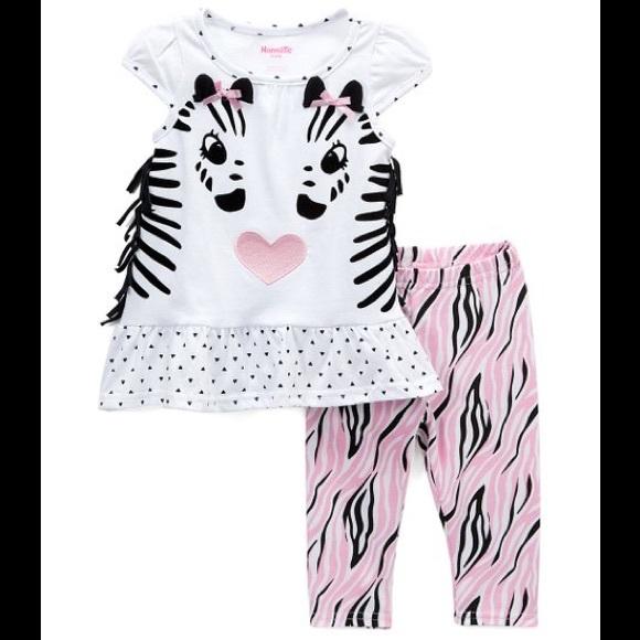 Nannette Other - Nannette Zebra Fringe Sleeve Top & Zebra Leggings